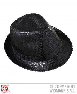 Pailletten Hut schwarz Silvester Party Showtime, Herren Damen