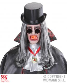 Vampir Zähne, Dracula mit rotem LED ink. Batterie Halloween
