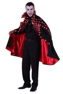 LED Dracula Cap Umhang schwarz-rot, Herren, Halloween one size