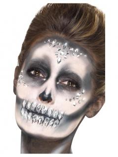 Schmucksteine Glitzersteine silber Strass Gesicht Aufkleber Halloween