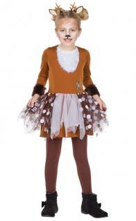 Reh Kostüm Rehkitz Bambi Tüll Rock braun Karneval Fasching Mädchen 104