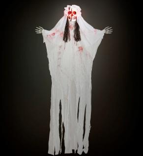 Figur Skelett Lebensgroß Braut Tod Horror 170 cm LED leuchtend Halloween Deko - Vorschau 4