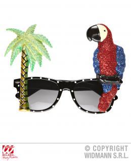 Tropische Brille mit Papagei, Hawaii Mottoparty 349