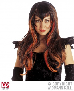 Hexen Perücke Teufel, lang schwarz/orange Damen Karneval Halloween