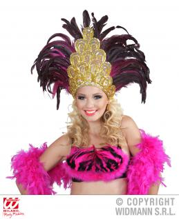 Feder Kopf Schmuck Brasilia pink-schwarz Karneval Rio Show, Damen 1182
