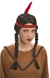 Indianerin, Squaw Indianer Perücke Damen, Zöpfe, 8616