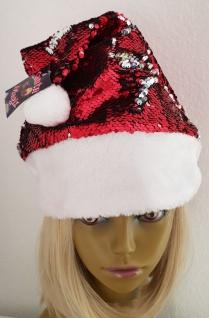Pailletten Weihnachts Mütze ROT - Silber weißer Pelzrand, Bommel Damen