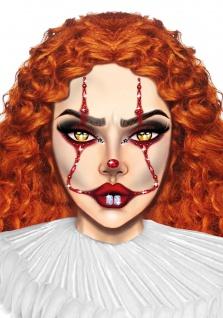 böser Clown Tattoo Aufkleber Schmucksteine Gesicht Halloween Karneval