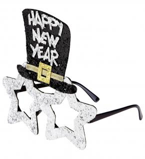 Happy New Year SILBER Brille mit Sterne Zylinder, Silvester Party
