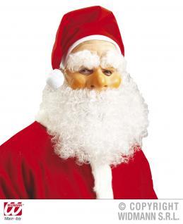 Nikolaus, Weihnachtsmann Halbmaske + Mütze, Bart, Schnurrbart Augenbrauen