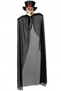Qualmender Tod mit Zigarre Skelett Figur leuchtend Deko Hängefigur 150 cm
