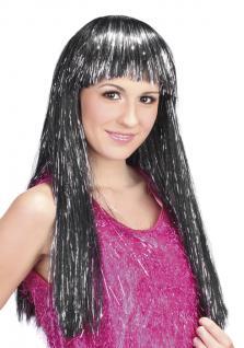 Perücke Glamour Space Hexe schwarz silber lang Pony Karneval Disco Damen