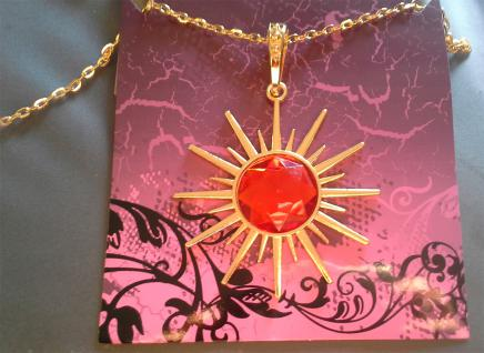 Vampir Dracula Amulet Halskette Stern + rotem Rubin 7456