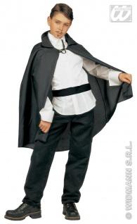 Dracula Umhang, Teufel Vampir, schwarz 90 cm Kinder Teanager 3580