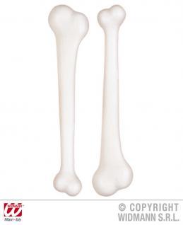 2 große weiße Knochen Neandertaler, Steinzeitmensch, Karneval Halloween 2314