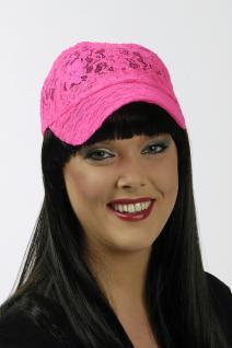 NEON pink Base Cap Kappe Mütze Damen und größere Kinder aus Spitze - Vorschau 3
