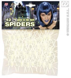 42 Spinnen 5 cm, leuchten im dunkeln Halloween, glow in the dark
