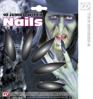 10er Hexen Nägel JUMBO lang Fingernägel schwarz, Halloween Gothic