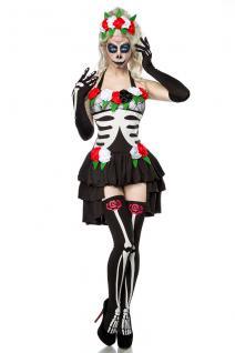 Mexican Dead Skeleton Kostüm 4 tlg Komplettset Knochenkostüm Blumen Damen 34-36