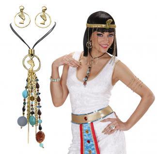 Ägypten, Pharaonin, Cleopatra Halskette, Ohrclips, Ohrringe, SET Schmuck