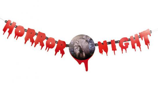 Blut Girlande HORROR NIGHT, 130 cm lang, Buchstaben Deko Halloween 7695