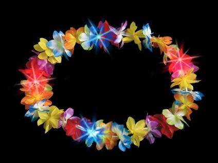 LED Hawaiikette Blumenkette, Party Hawaii bunt, multicolor hell, Licht
