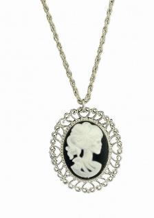 Halskette Medaillon silber Skelett Geisterbraut Horror Halloween Damen