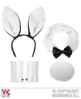 4tlg. Bunny Hasen Set, Ohren, Kragen Kostüm Damen Junggesellenabschied - Vorschau 1