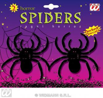 2 schwarze Spinnen Deko Halloween Grusel weiche Oberfläsche
