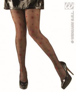 schwarze Strumpfhose 40den, mit Kuss roter Glitter Kussmund 4774