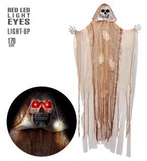 Figur Skelett Lebensgroß Sensemann Tod 170cm LED leuchtend Try me Halloween Deko