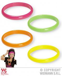 80er Jahre, 4er Set bunte Armringe Neon grün-pink-orange-gelb Damen