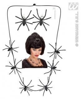 3 tlg. Spinnenkette + Ohrclips Spinne schwarz Halloween Schmuck 8709