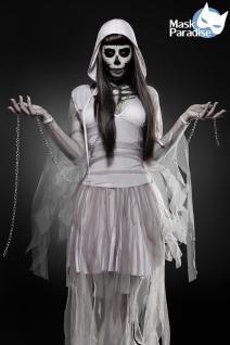 Skeleton Ghost Geist Grusel grau Komplettset Kostüm Halloween Damen - Vorschau 1