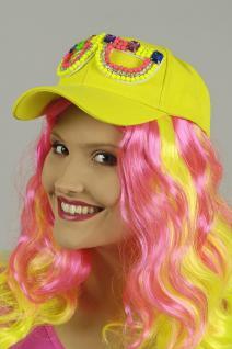 NEON Baseball Kappe Cap Mütze Damen Herren gelb bunte Perlen Brille - Vorschau 2