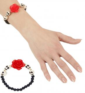 Perlen Armband Dia de los Muertos Totenkopf, Rose Damen, größere Kinder