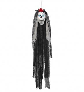 SPRECHENDE TOTENKOPF BRAUT, blinkende Auge, Ton animiert Halloween