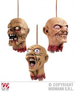3 x abgehackter Kopf zum Hängen, Deko Halloween, Tischdeko