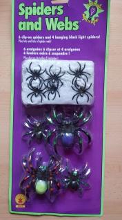 Spinnwebe, Schwarz Licht Neon Spinnen 11 tlg Deko Halloween