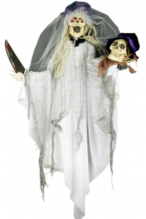 Zombie Braut mit Schädel Deko Figur animiert Horror, Hängefigur Halloween