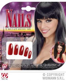 15 EXTRA lange rote künstliche Nägel, Fingernägel, 30 Klebelaschen
