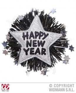 SILVESTER, Party Brosche, Anstecknadel HAPPY NEW YEAR Stern gold, silber - Vorschau 3