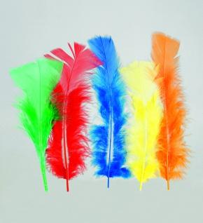 100 Stück Federn BUNT, gefärbt ca.12 cm, Hühnerfedern, Basteln für Kostüme