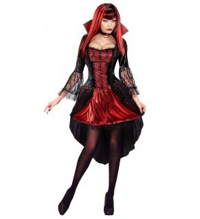 2 tlg Vampir Hexen Kostüm Kleid Halskette Damen Halloween Karneval