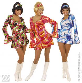 70er Hippie Kleid, Minikleid Kostüm kurz, blau-bunt ---L=40-42
