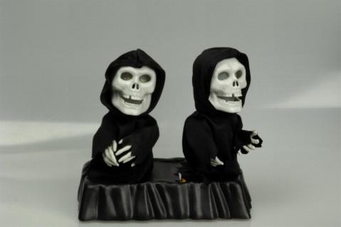 2 tanzend und singende Skelett Figuren Sound Animiert leuchtend Halloween