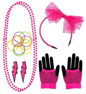 17 tlg. 80er Neon pink Haarreif Schleife Perlenketten Ohrringe Netzhandschuhe