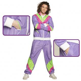 80er Jogginganzug Retro lila pink grün Herren Taschen Hose u Jacke XL