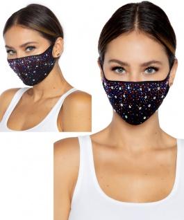Mundschutz Maske Gesichtsmaske Damen Strass rot blau multicolor Edel