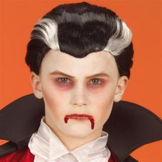 Vampir Dracula Perücke Kinder Kurzhaar schwarz grau Halloween
